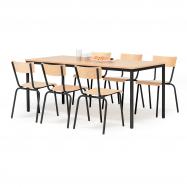 Jídelní sestava: stůl 1800x800 mm + 6 židlí, buk/černá