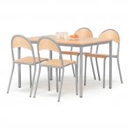 Jídelní sestava: stůl 1200x800 mm + 4 židle, buk/hliníkově šedá