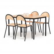 Jídelní sestava: stůl 1200x800 mm + 4 židle, buk/černá