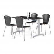 Jídelní sestava: stůl 1200x700 mm, černý + 4 židle, černá/šedá