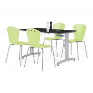 Jídelní sestava: stůl 1200x700 mm, černý + 4 židle, zelená/šedá