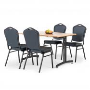 Jídelní sestava: stůl 1200x800 mm, buk + 4 židle, černá/černá koženka