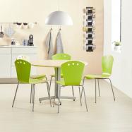 Jídelní sestava: stůl Ø 1100 mm, bříza + 5 židlí, zelené