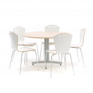 Jídelní sestava: stůl Ø 1100 mm, bříza + 5 židlí, bílé