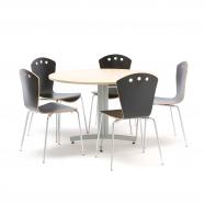 Jídelní sestava: stůl Ø 1100 mm, bříza + 5 židlí, černé