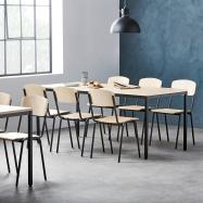 Jídelní sestava: stůl 1800x800 mm, bříza + 6 židlí, bříza/černá