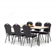 Jídelní sestava: stůl 1800x800 mm, bříza + 6 židlí, černá/černý potah