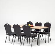 Jídelní sestava: stůl 1800x800 mm, buk + 6 židlí, černá/černý potah