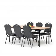 Jídelní sestava: stůl 1800x800 mm, buk + 6 židlí, černá/černá koženka