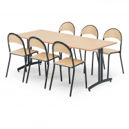 Jídelní sestava: stůl 1800x800 mm, buk + 6 židlí, buk/černá