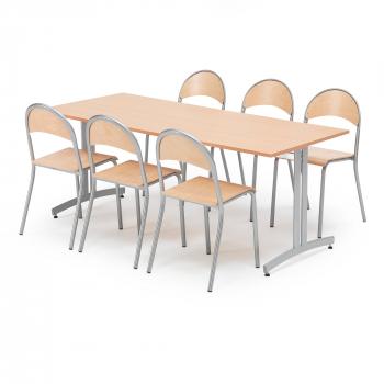 Jídelní sestava: stůl 1800x800 mm, buk + 6 židlí, buk/hliníkově šedá