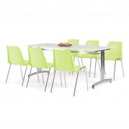 Jídelní sestava: stůl 1800x700 mm, bílá + 6 židlí, limetková/chrom