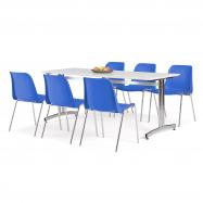 Jídelní sestava: stůl 1800x700 mm, bílá + 6 židlí, modrá/chrom