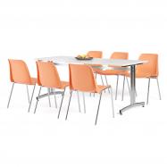 Jídelní sestava: stůl 1800x700 mm, bílá + 6 židlí, oranžová/chrom