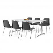 Jídelní sestava: stůl 1800x700 mm, bílá + 6 židlí, černá/chrom