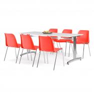 Jídelní sestava: stůl 1800x700 mm, bílá + 6 židlí, červená/chrom