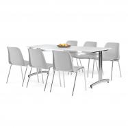 Jídelní sestava: stůl 1800x700 mm, bílá + 6 židlí, šedá/chrom
