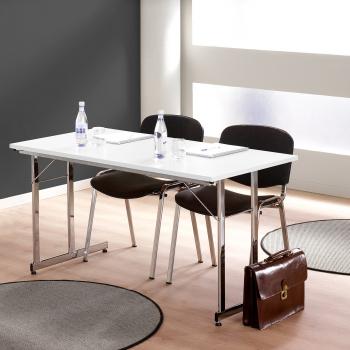 Skládací stůl Claire, 1400x700 mm, bílá, chrom
