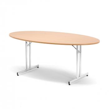 Skládací stůl Emily, oválný, 1800x1000 mm, buk, chrom