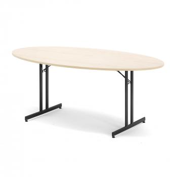 Skládací stůl Emily, oválný, 1800x1000 mm, bříza, černá