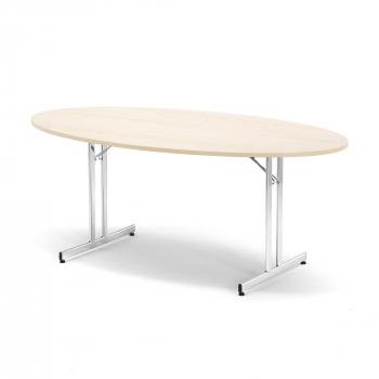 Skládací stůl Emily, oválný, 1800x1000 mm, bříza, chrom