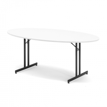 Skládací stůl Sanna, oválný, 1800x1000 mm, bílá, černá