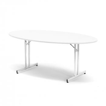 Skládací stůl Emily, oválný, 1800x1000 mm, bílá, chrom