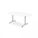 Pevný stabilní oválný jídelní stůl s rektifikací a zahnutými podnožemi na T-rámu, které usnadňují úklid podlahy.   Zahnuté podnože Rektifikační nohy Odolná laminátová deska