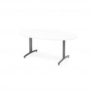 Oválný jídelní stůl Sanna, 1800x1000 mm, bílá, černá