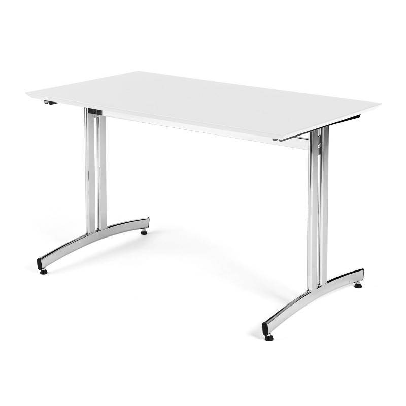 Jídelní stůl Sanna, 1200x700 mm, HPL, bílá, chrom