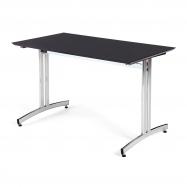 Jídelní stůl Sanna, 1200x700 mm, HPL, černá, chrom