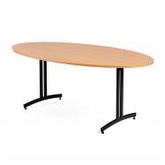 Oválný jídelní stůl Sanna, 1200x700 mm, buk, černá