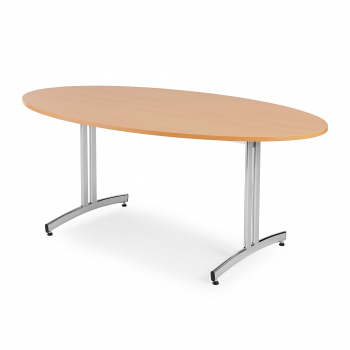 Oválný jídelní stůl Sanna, 1200x700 mm, buk, chrom