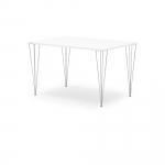 Moderní stůl s obdélníkovou deskou se zaoblenými hranami. Nohy stolu mají velice zajímavý design, tvoří je 4 svařené kovové tyče.   Atraktivní design nohou Deska z vysokotlakého laminátu Zaoblené hrany