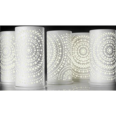 Bílý kovový svícen pro LED svíčky