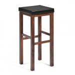 Bytelná barová stolička s čalouněným sedákem. Odolná koženka Klasický design V barvě ořechu