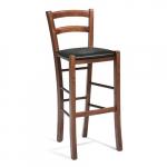Barová židle mořená v barvě ořechu s opěrkou nohou, opěradlem a čalouněným koženkovým sedákem. Odolná koženka. Klasický design. V barvě ořechu.