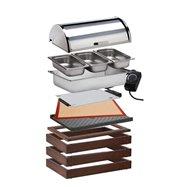 Modul WOOD pro teplé pokrmy, tmavý - komplet  3x základní rám o rozměru 58 x 40,5 x 6,5 cm, 1x horní dřevěný rám pro vodní lázeň