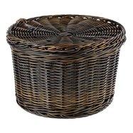Košík Rattanový textil průměr 26cm, výška 17cm, černý