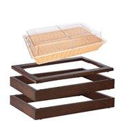 MODUL bufetový s košíkem na pečivo 13 cm, tmavý buk 2 základní dřevěné rámy, horní rám pro studený bufet a košík na pečivo s pok